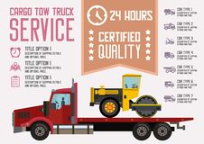 Cargaison Tow Truck Service Illustration plate de vecteur illustration stock