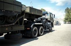 Cargaison, voiture, arme à feu de machine militaire d'arme de réservoir de camion grande Photographie stock