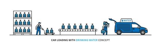 Cargamento del coche con el ejemplo del vector del agua potable stock de ilustración