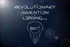Cargamento revolucionario de la invención, bombilla con enfermedad de la barra de progreso imágenes de archivo libres de regalías