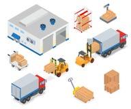 Cargando o descargando un camión en el almacén Foto de archivo libre de regalías