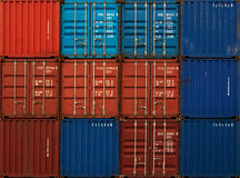 Cargo. Shipping containers stacked at terminal Royalty Free Stock Images