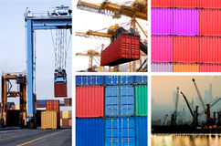Cargo. Collage of industrial cranes for cargo containers in port Stock Photos