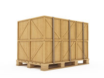 Cargo. 3d render of wooden boxes on palette Royalty Free Stock Images