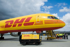 Cargo aircraft. Front view of a big DHL cargo aircraft Stock Photography