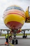 Cargo aircraft. Nose of a DHL cargo aircraft Stock Images