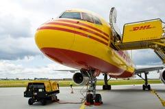 Cargo aircraft. DHL cargo aircraft at ramp Stock Images