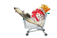 Cargo aircraft with gifts and presents in shopping trolley cart on white background. Royalty Free Stock Photo
