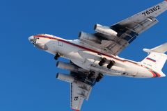 Cargo aircraft IL-76 Russian EMERCOM is landing Stock Images