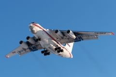 Cargo aircraft IL-76 Russian EMERCOM is landing Stock Photo