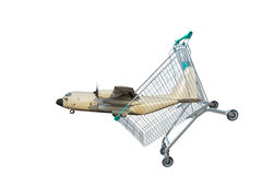 Cargo aircraft in shopping trolley cart on white background. Stock Photo