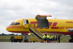 Cargo airplane. Front view of a big cargo aircraft Stock Photo