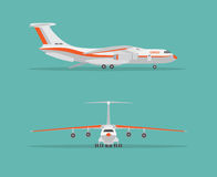Cargo airplane in profile, from the front view. Royalty Free Stock Photos