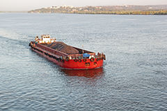 Cargo Barge Carrying Iron Ore Royalty Free Stock Photo