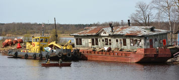 Cargo barge Royalty Free Stock Photos