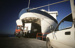 Cargo being loaded onto ferry Port Melbourne Victoria Australia Stock Photography