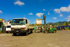 Cargo being unloaded at the grenadines wharf Royalty Free Stock Photo