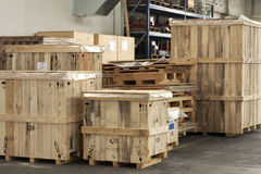 Cargo in big wooden boxes Stock Photos