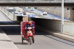 Cargo bike on the road, Beijing, China Royalty Free Stock Photography
