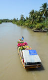 A cargo boat carrying flowers at the market in Dong Thap, Vietnam Stock Image