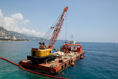 Cargo boat with crane Royalty Free Stock Photos