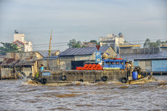 Cargo boat at the Floating market, Mekong Delta, Can Tho, Vietnam Royalty Free Stock Photo