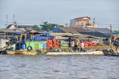 Cargo boat at the Floating market, Mekong Delta, Can Tho, Vietnam Royalty Free Stock Images
