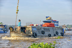 Cargo boat at Mekong River royalty free stock images