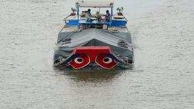 Cargo Boat Passes Under Bridge - Ho Chi Minh City (Saigon) Vietnam stock video