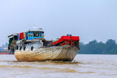 A cargo boat, the river, the Mekong Royalty Free Stock Photography