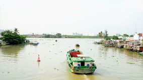 Cargo Boat on the Saigon River - Ho Chi Minh City (Saigon) stock video footage