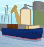 Cargo boat in seaport. Vector illustration cargo boat on background of port area Stock Image