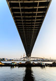 Cargo Boat under Bhumibol Bridge Royalty Free Stock Photography
