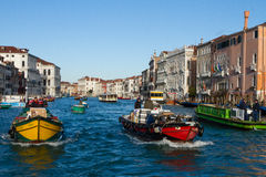 Cargo boats. On the Grand Canal Venice stock photo