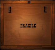 Cargo box. Load wooden cargo box with inscription 'fragile Stock Image