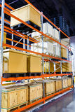 Cargo box on steel shelf system in warehouse Royalty Free Stock Image