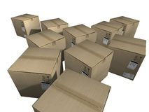 Cargo boxes. Realistic 3d object of cargo boxes Royalty Free Stock Photo