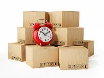 Cargo boxes and alarm clock isolated on white background. 3D illustration.  Stock Images