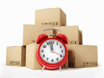 Cargo boxes and alarm clock isolated on white background. 3D illustration.  Royalty Free Stock Photos