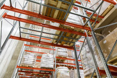 Cargo boxes storing at warehouse shelves Royalty Free Stock Images