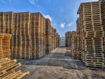 Cargo Business area with huge piles of cargo pallets Royalty Free Stock Image