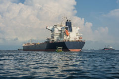 Cargo carrier. Large bulk carrier ships in harbour Royalty Free Stock Photography