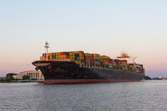 Cargo Carrier on the Savannah River Stock Images