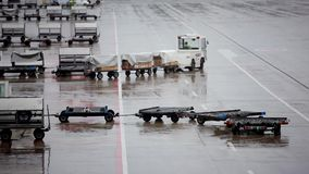 Cargo carts in airport stock video footage