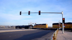 Cargo cistern train cross the Las Vegas Strip, Las Vegas, USA, stock footage