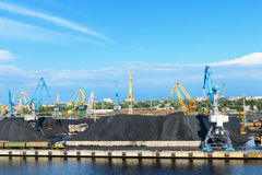 Cargo coal terminal and crane Royalty Free Stock Images