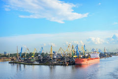 Cargo coal terminal and dry cargo ship Royalty Free Stock Photo