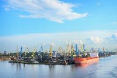 Cargo coal terminal and dry cargo ship Royalty Free Stock Photo