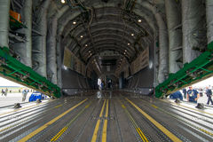 The cargo compartment of military transport aircraft Antonov An-178. Royalty Free Stock Image