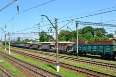 Cargo compositions at railway station Stock Photos